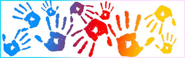 decorative image showing multi-color handprints